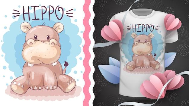 Śliczny pomysł hipopotama na t-shirt z nadrukiem. rysowanie ręczne