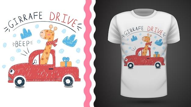 Śliczny pomysł żyrafa na koszulkę z nadrukiem