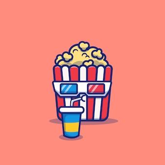 Śliczny popcorn pije sodowaną kreskówki ikony ikonę. film jedzenie i picie ikona koncepcja na białym tle. płaski styl kreskówek