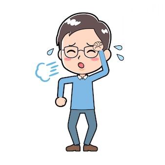 Śliczny postać z kreskówki mężczyzna zmęczony