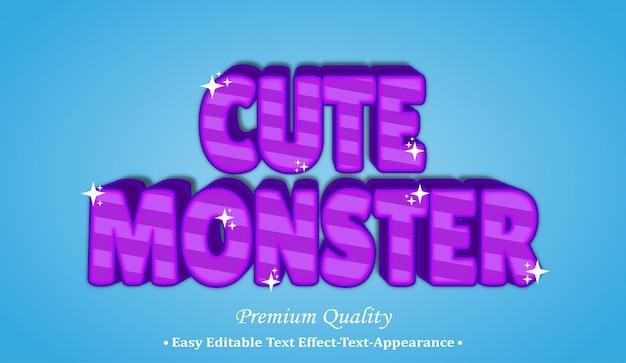 Śliczny potwór efekt stylu czcionki 3d