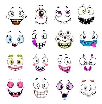 Śliczny potwór stoi przed kreskówkowym projektem z emotikonami halloween i emoji. zabawny demon, zombie lub wampir, szczęśliwy kosmita, cyklop i troll, gremlin i duch z szalonymi uśmiechami i oczami, komiczne emotikony
