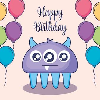Śliczny potwór z balonową urodzinową kartą hel
