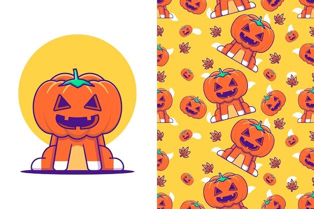 Śliczny potwór z dyni szczęśliwego halloween z bezszwowym wzorem