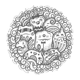 Śliczny potwora doodles okręgu styl.