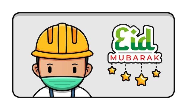 Śliczny pracownik budowlany z powitaniem eid mubarak