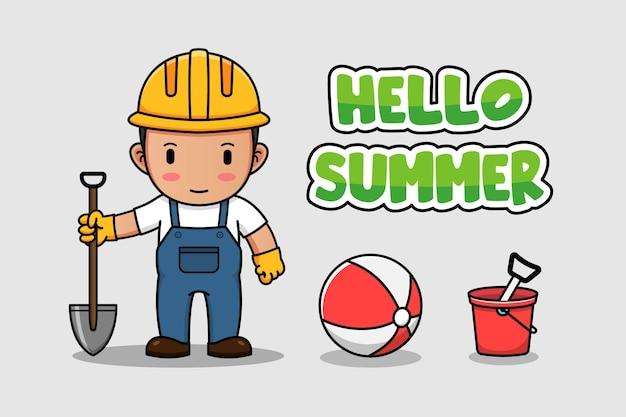 Śliczny pracownik budowlany z witam letnim sztandarem