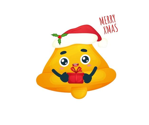 Śliczny prezent trzymający dzwonek z kapeluszem świętego mikołaja na wesołych świąt bożego narodzenia premium wektorów
