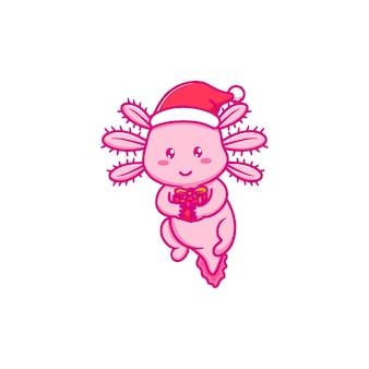 Śliczny projekt axolotl świętuje boże narodzenie