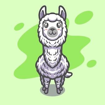 Śliczny projekt ilustracji maskotki alpaki