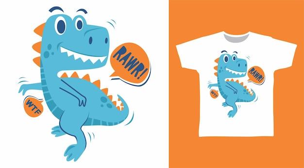 Śliczny projekt koszulki z dinozaurem rawr