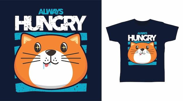 Śliczny projekt koszulki z głodnym grubym kotem