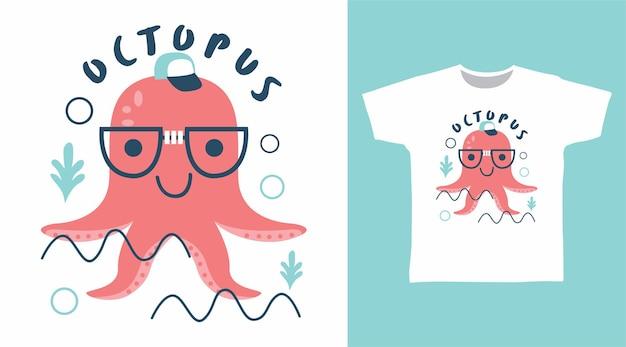 Śliczny projekt koszulki z ośmiornicą