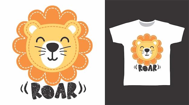 Śliczny projekt koszulki z rykiem lwa