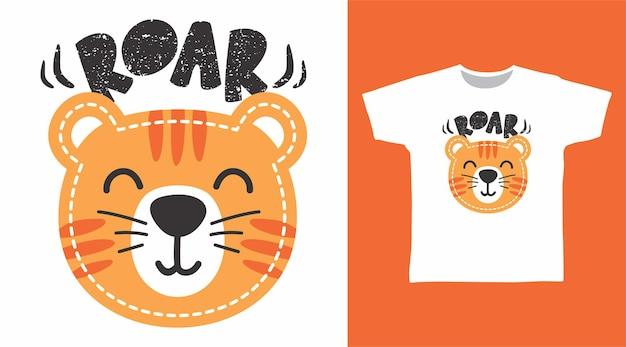 Śliczny projekt koszulki z rykiem tygrysa