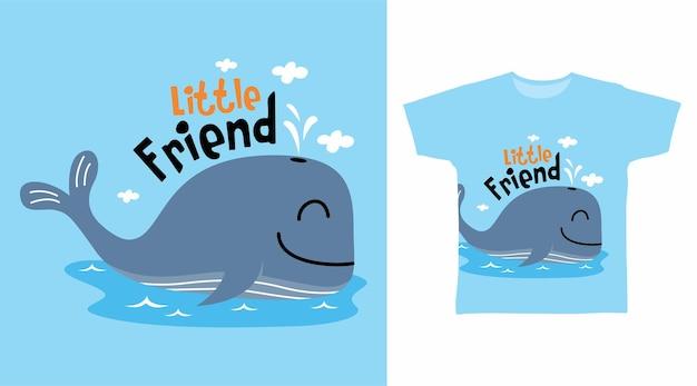 Śliczny projekt koszulki z wielorybem