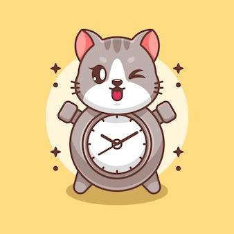 Śliczny projekt kreskówki kota zegara