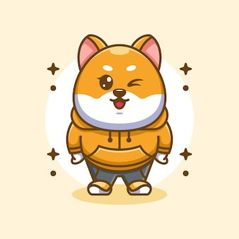 Śliczny projekt maskotki psa shiba inu