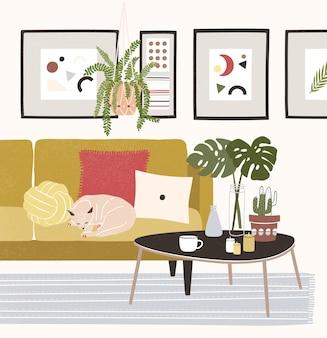 Śliczny przytulny pokój z kotem śpiącym na wygodnej sofie, stolikiem kawowym, roślinami doniczkowymi, dekoracjami do domu.
