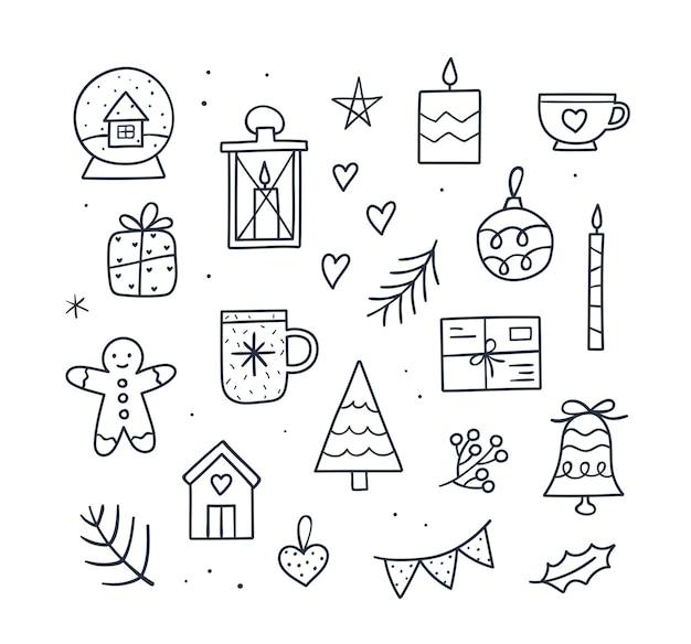 Śliczny przytulny zestaw świąteczny - kubek, świeczki, choinka, prezent, piernikowy ludzik, śnieżna kula, mały domek, dzwonek. ręcznie rysowane ilustracja wektorowa zarysu. doodle styl szkicu.