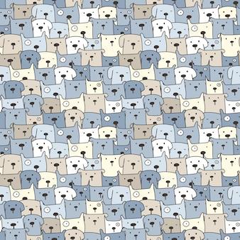 Śliczny psi bezszwowy deseniowy tło