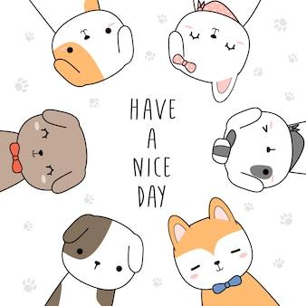 Śliczny psi powitanie kreskówki doodle tło