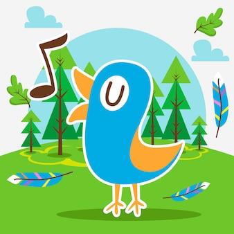 Śliczny ptak w lesie