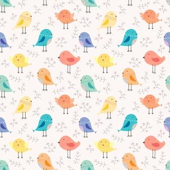 Śliczny ptasi bezszwowy deseniowy tło