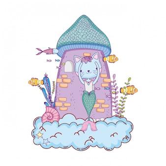 Śliczny purrmaid z wieżą zamkową podmorską
