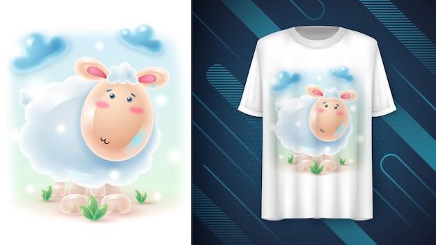 Śliczny realistyczny plakat z owcą i merchandising