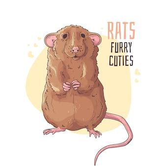 Śliczny realistyczny szczur.