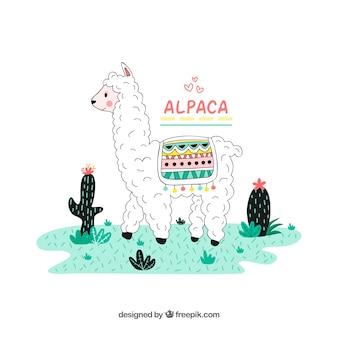 Śliczny, ręcznie rysowany charakter alpaki