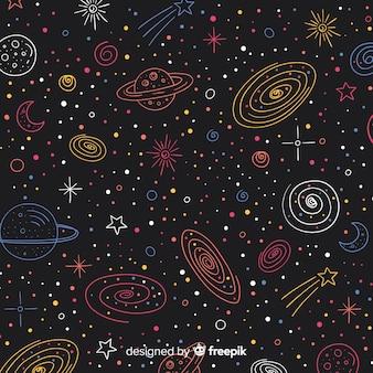Śliczny ręka rysujący galaktyki tło