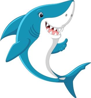 Śliczny rekin daje kciukowi up