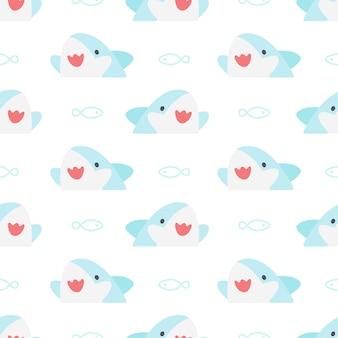 Śliczny rekin i ryba bezszwowy deseniowy tło