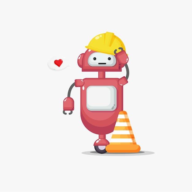 Śliczny robot pracuje w budownictwie z sercem w mowie bąbelkowej
