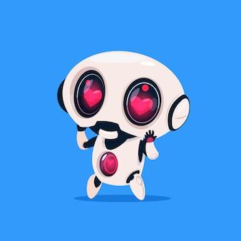Śliczny robot z kształt serca oczy odizolowane ikona na niebieskim tle nowoczesna technologia sztuczna inteligencja