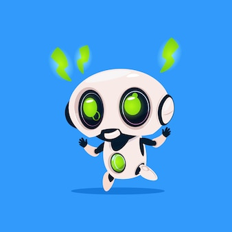 Śliczny robot z zieloną błyskawicą ładuje odosobnioną ikonę na błękitnym tle nowożytna technologia sztuczna