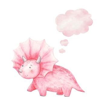 Śliczny różowy dinozaur uśmiechający się i myślący ikona, chmura, akwarela ilustracja dla dzieci