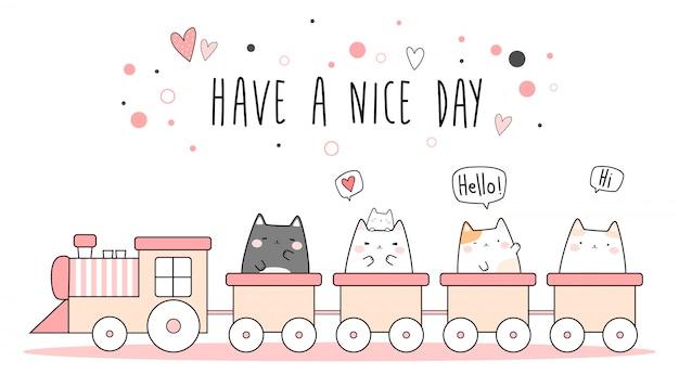 Śliczny różowy kot kociak jedzie pociąg kreskówki doodle tapetę