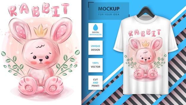 Śliczny różowy królik - akwarela ilustracyjny projekt koszulki