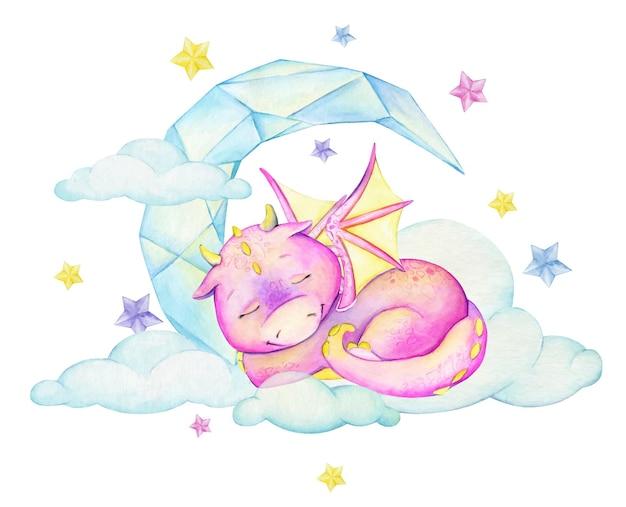 Śliczny różowy smok, śpiący, w chmurach, kryształowy księżyc. akwarela