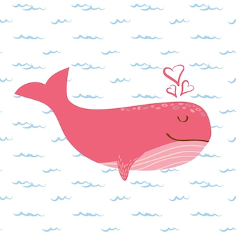 Śliczny różowy wieloryb z sercami
