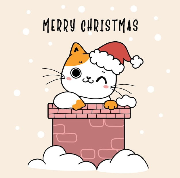 Śliczny rudy i biały kotek kot nosi czapkę świętego mikołaja w domu z kominem ze śniegiem w tle