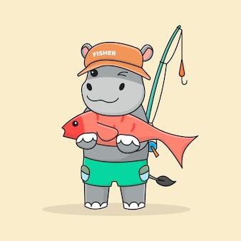Śliczny rybak-hipopotam z wędką i przytulającą rybą