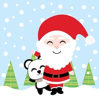 Śliczny santa i panda uśmiech na śnieżnym tle