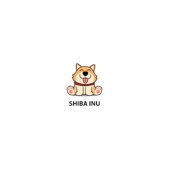 Śliczny shiba inu szczeniaka kreskówki obsiadanie, wektorowa ilustracja