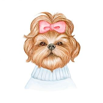 Śliczny shih tzu pies z tasiemkową akwareli ilustracją