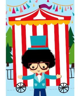 Śliczny showman z cyrkowym tłem