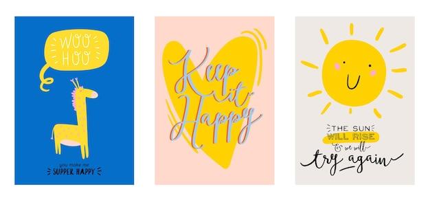 Śliczny skandynawski zestaw plakatów zawierający modne cytaty i fajne, ręcznie rysowane elementy dekoracyjne.